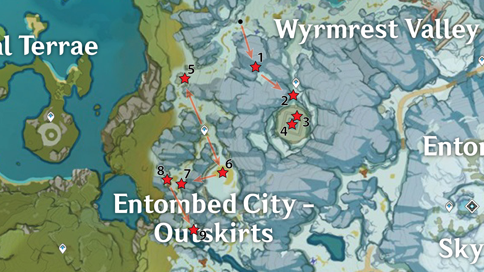 Entombed City - Outskirts Crimson Agate Locations