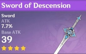 Sword of Descension   Genshin Impact Weapon Stats And Ascension Guide